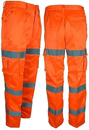 Da uomo, ad alta visibilità in policotone pantaloni cargo materiale giallo arancione