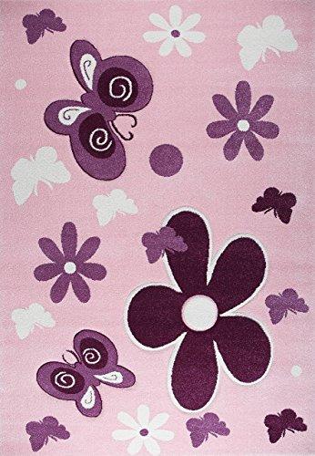 Alfombra en rosa y morado muy mullida con flores y mariposas contorno cortado a mano, para la habitación infantil, Maße:120x170 cm
