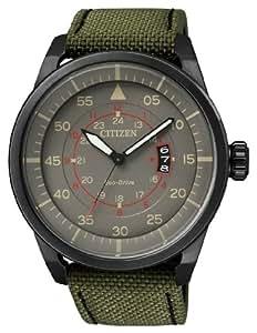 Citizen Montre bracelet Homme, Tissu, couleur: vert