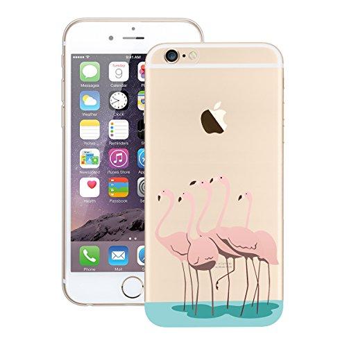 HB-Int Hülle für iPhone 6 / 6S Schutzhülle Transparent mit Flamingo Blumen Muster Etui Silikon Handyhülle Flexible Slim Case Cover Ultra Dünn Durchsichtige Handytasche Flamingos