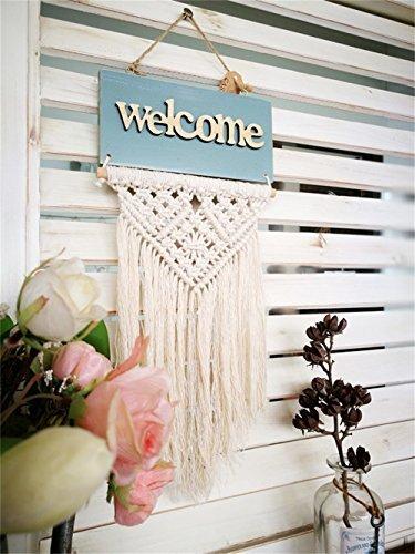 Hecho a mano bienvenida señal de puerta pared macramé con flecos colgante de pared 12'L bohemio Tapiz Casa decorativo Boho Chic boda fiesta evento telón de fondo decoración DS09