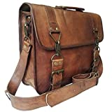 Mad Over Shopping, Vintage handgemachte braune Taschen aus echtem Leder Messenger Laptop Schulter Aktentasche Office Bag