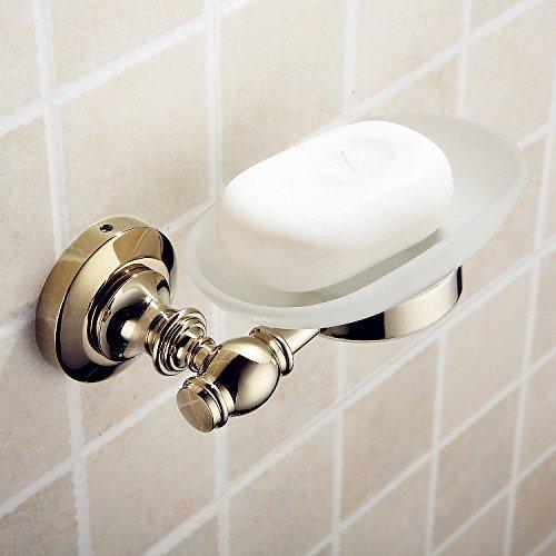 YanCui@ Bagno decorazione Accessori per il bagno Portasapone Accessori bagno in ottone massiccio placcato oro europeo SOAP