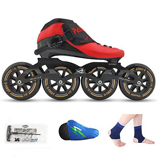 TTYY Thermoplastische Eisschnelllaufschuhe, Kinder für Erwachsene, Profi-Rollschuhe, Thermoplast-Carbon-Rollschuhe, Rollschuhe, High-End-Design, Cooles Aussehen Red EU37