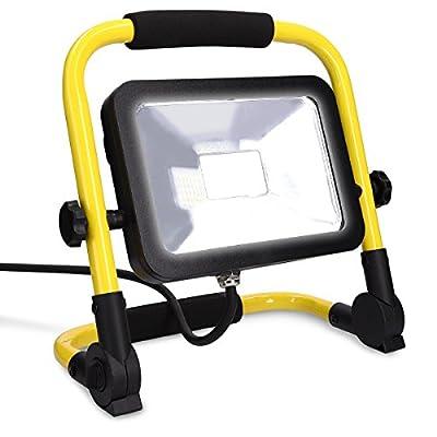 kwmobile LED Baustrahler 20W 1700lm - 5m Netzkabel - Baulampe Flutlicht Strahler - spritzwassergeschützt - Bau Licht für Innen- und Außenbereich