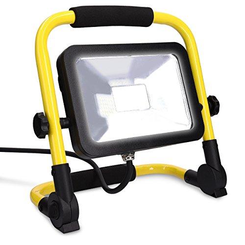 kwmobile LED Baustrahler 20W 1800lm - 5m Netzkabel - Baulampe Flutlicht Strahler - spritzwassergeschützt - Bau Licht für Innen- und Außenbereich (Aluminium-richtungs-flutlicht)