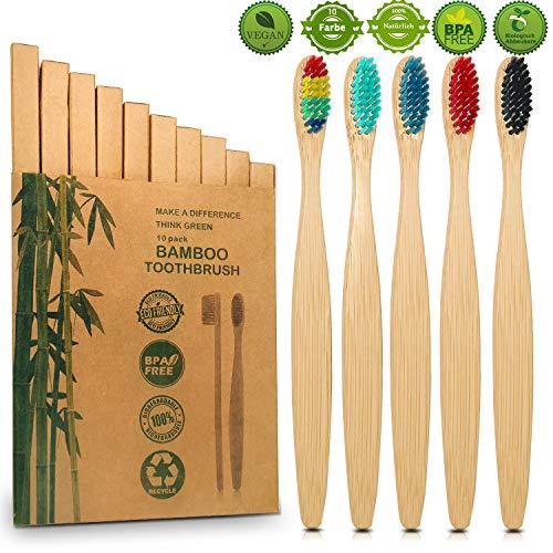 10er Pack Bambus Zahnbürsten, Borsten der Zahnbürste mit Premium Aktivkohle für beste Sauberkeit, 100{2322099500489dbe0ca8338eed3dd3436b34cb21e16ab3523ee3ced10cd22c42} BPA freie, Plastikfrei, Vegan, Umweltfreundlich, Recycelbar, Biologisch Abbaubare
