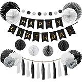 Happyhours Deko Geburtstag Birthday Girlande Geburtstag Deko Set für Junge, Männer in Schwarz und Grau