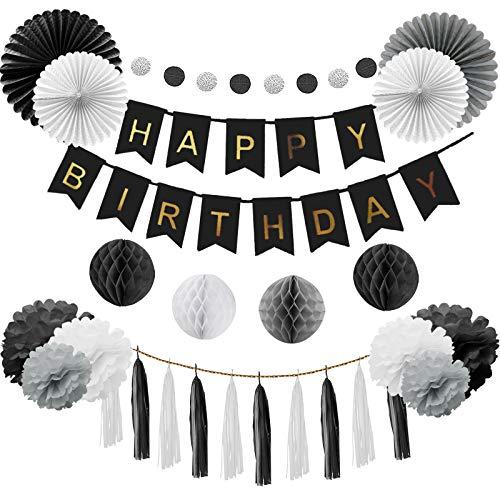 gsdeko Birthday Girlande Set Deko Geburtstag für Junge, Männer in Schwarz und Grau (Deko Geburtstag Schwarz) ()