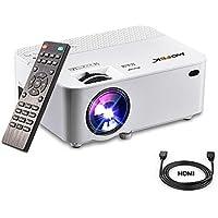 Vidéoprojecteur, Mofek 1800 Lumens Mini Projecteur Portable LED Retroprojecteur Soutien Full HD 1080 P HDMI USB SD VGA AV, pour les parties de divertissement de cinéma maison Parties Compatible avec Amazon Fire TV Stick