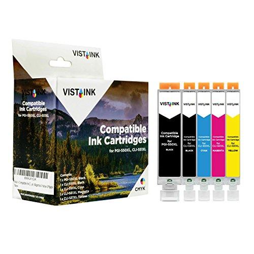 Vista Ink kompatible Tintenpatronen für Canon PGI-550XL BK & CLI-551XL BK, Cyan, Magenta und Gelb 5 / Packung