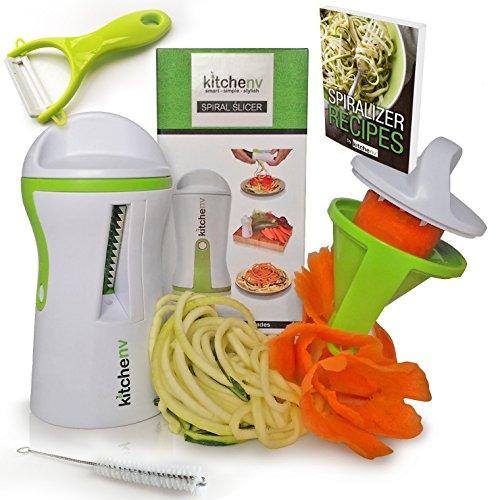 Kitchen-nv® Spiralizer – Cortador Rallador de Verduras en Bucle – Pelador LIBRE, Cepillo y E …