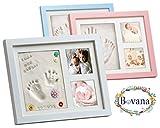 Bovana Baby Bilderrahmen Set aus Holz mit Glasfront mit Gips für Baby Fußabdruck, Handabdruck - Weiß
