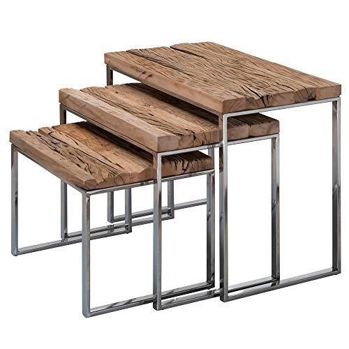 KS-Furniture Lot de 3 Tables d'appoint Design Priya en Bois Massif - Table Basse Industrielle carrée Moderne avec Pieds en métal - Table Basse - Table Basse Basse Basse avec Structure en métal