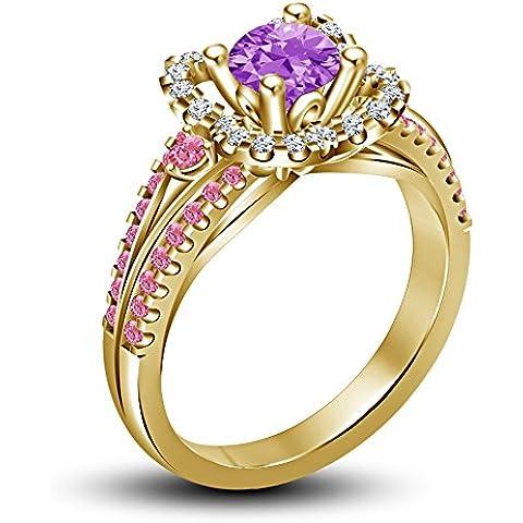 Vorra Fashion argento massiccio 925placcato oro 14K multicolore pietra Disney Rapunzel Principessa Anello