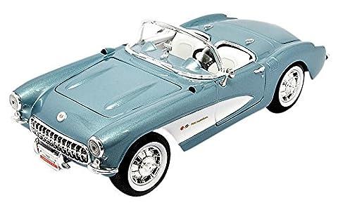 Chevrolet Corvette, metallic-bleu clair/blanc, 1957, voiture miniature, Miniature déjà montée, Lucky - Cast