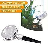 Spot d'éclairage pour plantes et fleurs 4LED Pivote à 360° 10x 20x 4cm Interrupteur Éclairage de jardin, sentiers, bassin