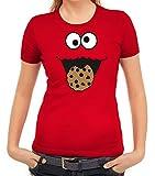 Karneval Fasching Verkleidung Damen T-Shirt Gruppen & Paar Kostüm Blaues Monster Premium, Größe: S,Rot