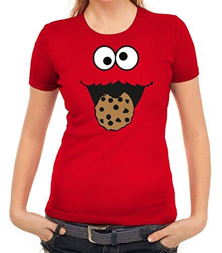 Monster Kleine Blaue Kostüm - Karneval Fasching Verkleidung Damen T-Shirt Gruppen & Paar Kostüm Blaues Monster Premium, Größe: L,Rot