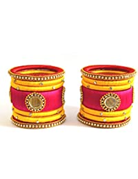 Floret Jewellery Party Wear Pink Yellow Silk Thread Bangle Set For Women & Girls - 14 Pcs (Mehandi/Haldi/Bride...