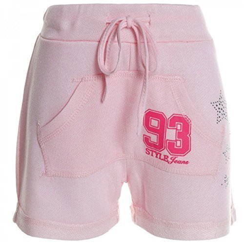Kinder Mädchen Kurze Hose Bermuda Shorts Sommer Capri Pump Pants Jeans 20361, Farbe:Rosa;Größe:158
