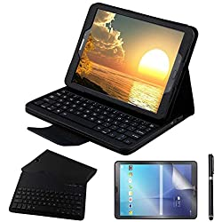 REAL-EAGLE Galaxy Tab S2 9.7 Teclado Funda(QWERTY), Funda de Cuero con Desmontable Inalámbrico Bluetooth Teclado para Samsung Galaxy Tab S2 9.7 SM-T810 T813 T815 T819 Tablet, Black