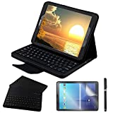 REAL-EAGLE Custodia Galaxy Tab S3 9.7 Bluetooth Tastiera con Screen Protector & Stylus, Pelle PU Custodia con Wireless Staccabile Keyboard per Samsung Galaxy Tab S3 9.7 T820 / T825, Black