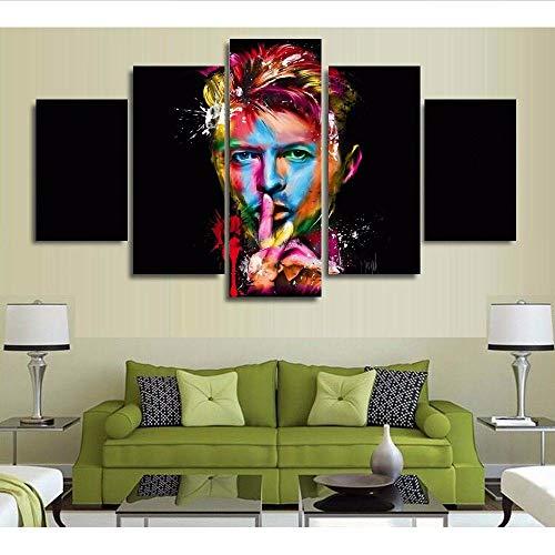 Leinwand Malerei Wandkunst Bilder Wohnkultur 5 Panel Moderne HD Gedruckt David Bowie Singer Songwriter Erstaunliche Poster 20x35/45/55cm,with frame