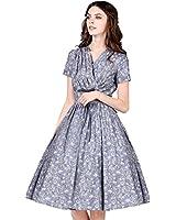 Artka Women's Summer 50s V-neck Short Sleeve Floral Print Swing Dress LA10555X