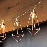 Kupfer LED geometrische Lichterkette – 4 Meter Gesamtlänge | 10 LEDs warm-weiß |rose gold pyramidenform | batterie-betrieben | von CozyHome
