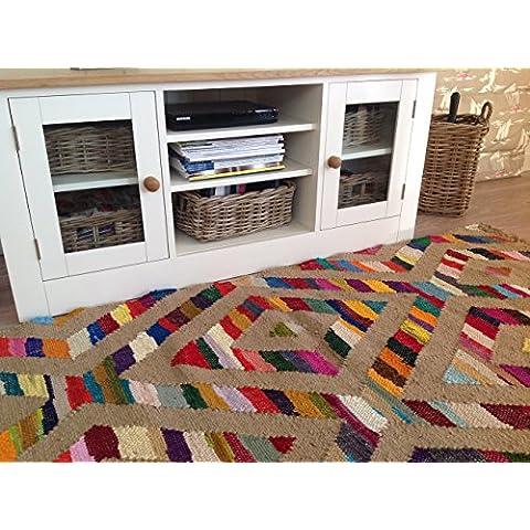 Yute Natural multicolor algodón 120cm x 180cm diamante frontera geométrico Kilim alfombra (Second Nature)