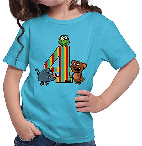 HARIZ  Mädchen T-Shirt Tiere Wald Bär 4 Geburtstag Kinder Plus Geschenkkarte Azur Blau 152/12-13 Jahre