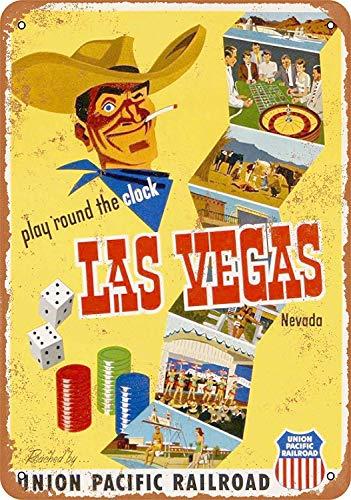 Sary buri Metal Poster Sign Union Pacific to Las Vegas Plaque Wandkunst Garage Club Bar Dekoration (Las Vegas Sign Poster)