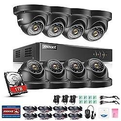 Annke Überwachungsset Videoüberwachung 8 Kanal 1080N DVR mit 8 x 960P Überwachungskameras 42 infrarote LEDs, Nachtsicht bis zu 30 Meter wetterfest plus 1TB Festplatte