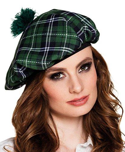 Preisvergleich Produktbild Karneval Klamotten Kostüm Schottenmütze grün kariert Zubehör Fasching Karneval