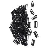 non-brand Sharplace 50Pcs Bikini In Plastica Con Clip Per Ganci Costumi da Bagno Accessori Chiusura A Nastro Chiusura Con Gancio E Fibbia - Nero 19mm