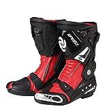ZHXYY Botas de Ciclismo de Motocicleta Adultos Botas de Carretera Botas de Caballero Profesionales Botas de Motos de Goma Antideslizantes de Cuero de superfibra para Ciclistas,Red,44