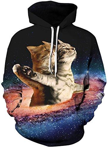 Bettydom Herren Galaxy Stil Unisex Slim Langarm Casual Wear Mann Sweatshirt Kapuzenpullover Hoodies Titanic Katze