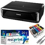 Canon PIXMA IP7250 Tintenstrahldrucker/Fotodrucker schwarz + USB Kabel & 20 komp. realprint® Druckerpatronen (Drucken per USB oder WLAN) - Originalpatronen ausdrücklich Nicht im Lieferumfang!