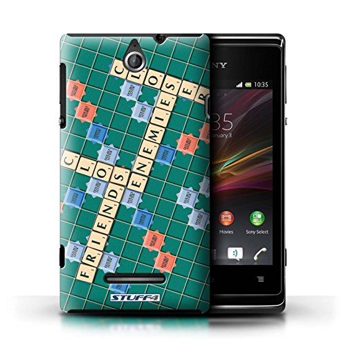 Kobalt® Imprimé Etui / Coque pour Sony Xperia E / Aucun Douleur Gain conception / Série Mots de Scrabble Ennemis Proximité