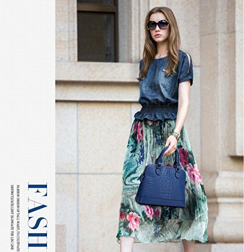 X&L Krokodil-Muster Mode Frauen Diagonale Schulter Leder Handtasche treasure blue