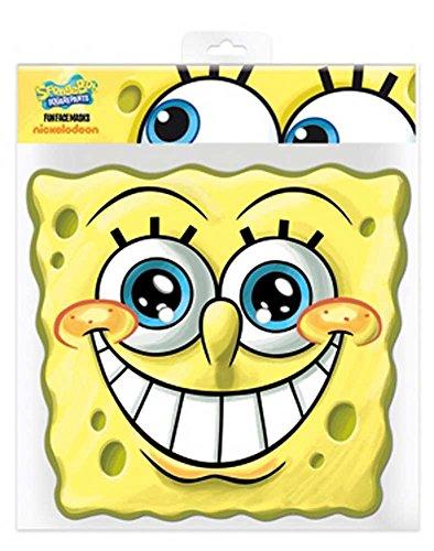 , aus hochwertigem Glanzkarton mit Augenlöchern, Gummiband - Grösse ca. 30x20 cm (Herren-spongebob-kostüm)