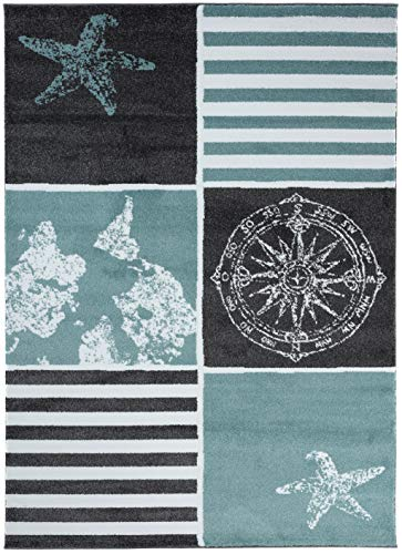 Carpeto Rugs Teppich Kinderzimmer Modern Muster Jugendizmmer Mint Blau 80 x 150 cm S