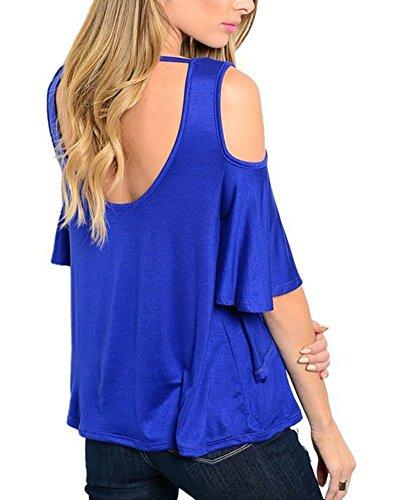 Qitun Donna Bluse a Mezza Manica V-Neck T-Shirt Sciolto Lunga Camicia Camicetta Tunica Tops Blu zaffiro