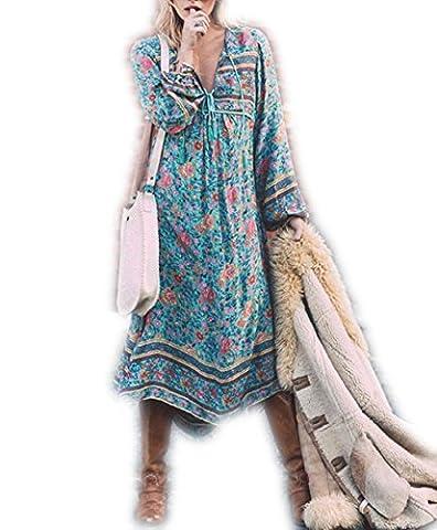 ASSKDAN Femme Bohémien Robe Bleu Imprimé Floral Manche longue Bandage Col V Tassel Maxi Robe d