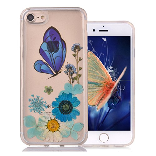 """Coque iPhone 6 Floral pour Fille, Aeeque® Luxe Ultra Mince Silicone Souple Transparent Gel TPU Premium Exat Fit Handmade Main Immobilier Fleurs iPhone 6S/6 4.7"""" Rose Papillon Fleurs Couleur Motif Etui Papillon et Fleur #7"""