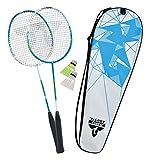 Talbot-Torro Premium Badminton-Set 2-Combat, 2 Graphit Composite Schläger, 2 Federbälle, in wertiger Tasche