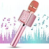 1 BY ONE Microfono Wireless per Karaoke, Sistema Portatile 4 in 1, Riproduzione Musica Wireless 4.2 per Smartphone Android/iOS e PC, Karaoke Portatile per Party in Casa o all'Aperto (Rosa)