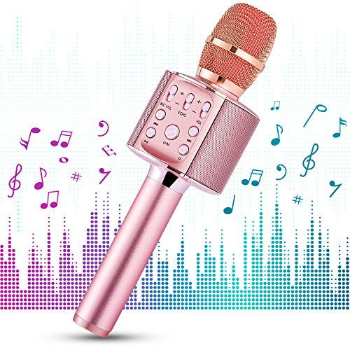 1 BY ONE Microfono Wireless per Karaoke, Sistema Portatile 4 in 1, Riproduzione Musica Wireless 4.2 per Smartphone Android, iOS e PC, Karaoke Portatile per Party in Casa o all'Aperto (Rosa)