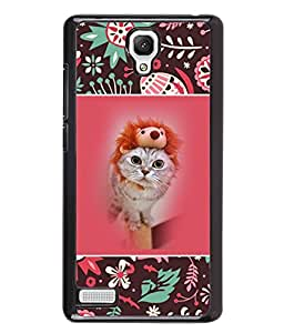 PrintVisa Metal Printed Crazy Cat Designer Back Case Cover for Xiaomi Redmi Note-D4815